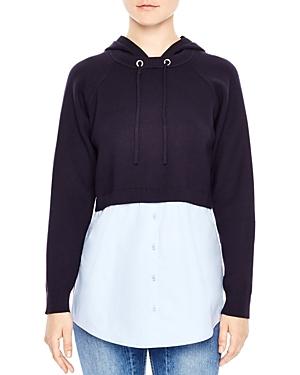 Sandro Horia Hooded Combo Sweater