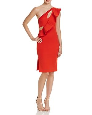 La Maison Talulah Rosa Ruffle Cutout One-Shoulder Dress