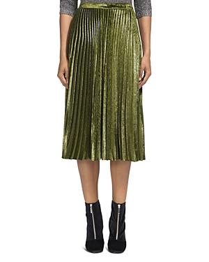 Whistles Kitty Pleated Metallic Velvet Midi Skirt