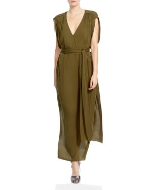 Halston Heritage V-Neck Belted Maxi Dress