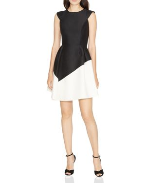 Halston Heritage Color-Blocked Fit-and-Flare Dress 2704934