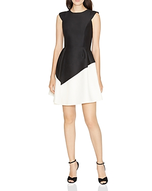 Halston Heritage Color-Blocked Fit-and-Flare Dress