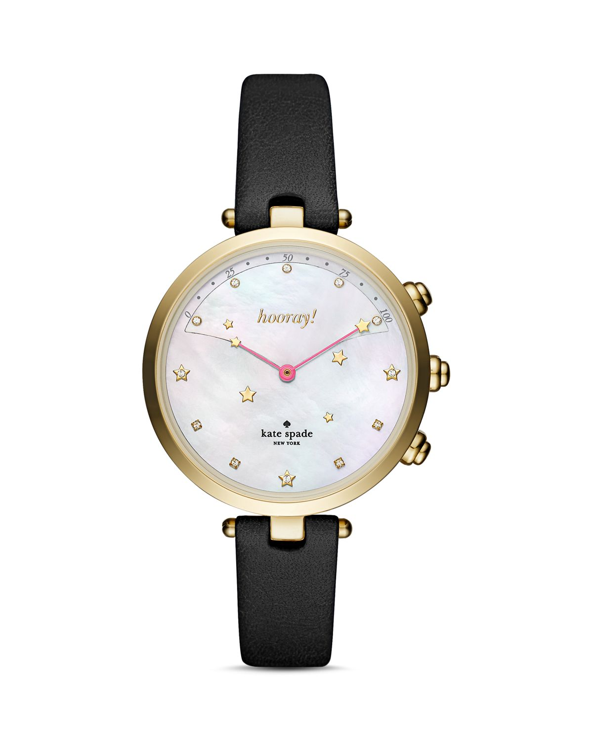 Holland Black Leather Strap Hybrid Smartwatch, 37.5mm by Kate Spade New York