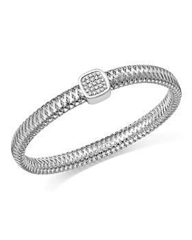 Roberto Coin - 18K Gold Primavera Pavé Diamond Square Bangle