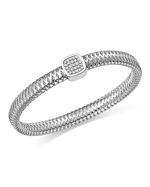 Roberto Coin 18K White Gold Primavera Pave Diamond Square Bangle-Jewelry & Accessories