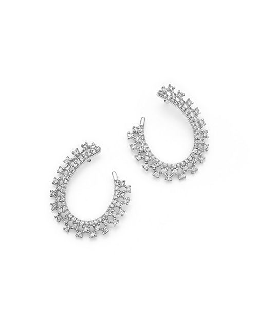 Bloomingdale's - Diamond Loop Earrings in 14K White Gold, .75 ct. t.w. - 100% Exclusive