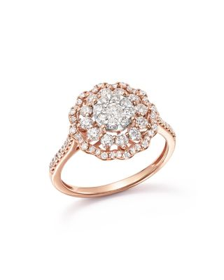 DIAMOND FLOWER BURST STATEMENT RING IN 14K ROSE GOLD, 1.0 CT. T.W. - 100% EXCLUSIVE