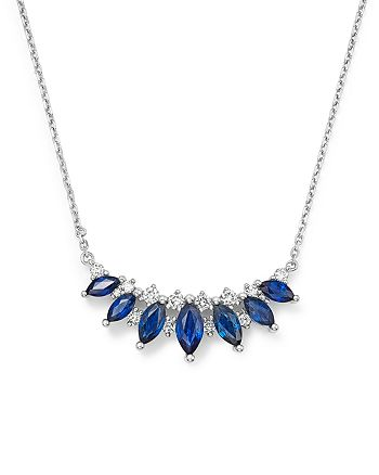 "Bloomingdale's - Blue Sapphire & Diamond Pendant Necklace in 14K White Gold, 16"" - 100% Exclusive"