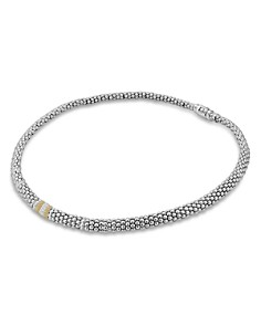 LAGOS - 18K Gold and Sterling Silver Diamond Lux Necklace, 16""