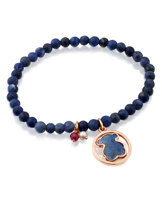 TOUS Camille Sodalite Beaded Stretch Bracelet With Dumortierite Bear Doublet, Ruby & Cultured Freshwater  in Black And Rose