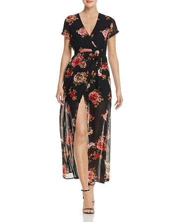 $Olivaceous Rose Print Maxi Wrap Dress - Bloomingdale's