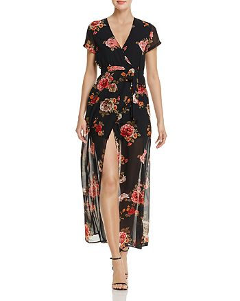Olivaceous - Rose Print Maxi Wrap Dress