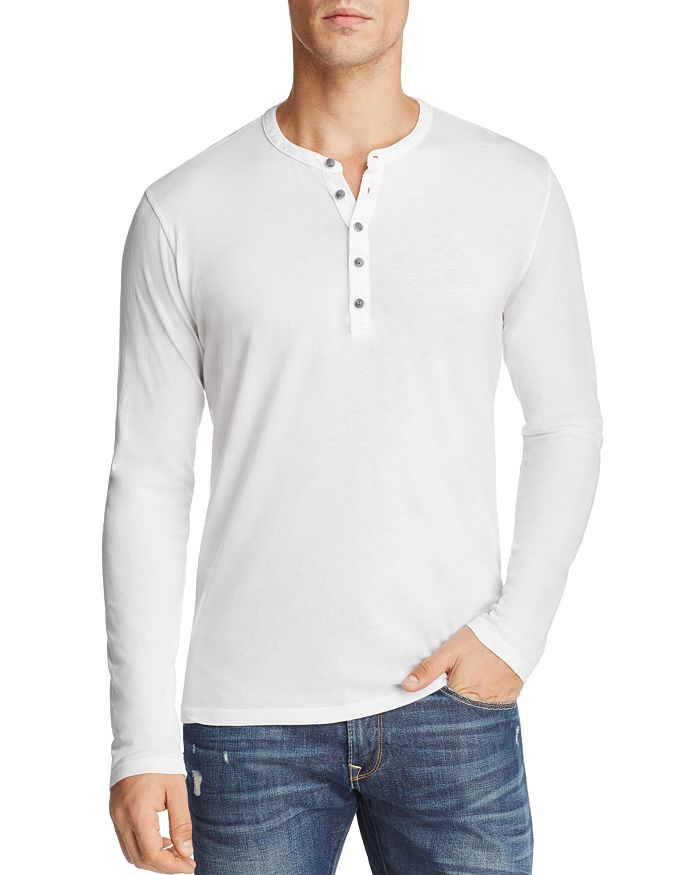 Velvet Alvaro Long Sleeve Henley In White
