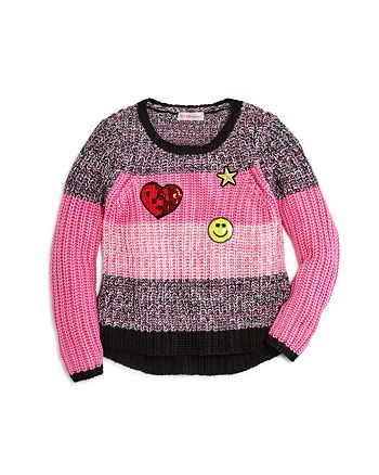 Design History - Girls' Striped Sweater with Emoji Patches - Little Kid