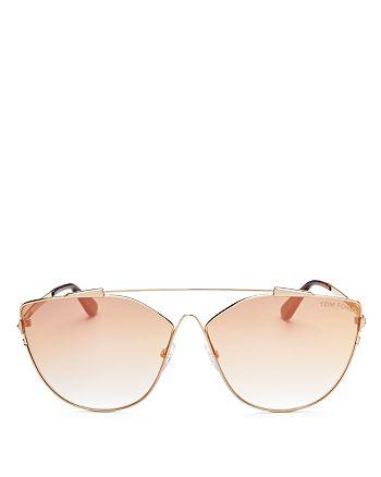 5cec3d112b4 Tom Ford Women s Mirrored Oversized Brow Bar Cat Eye Sunglasses ...