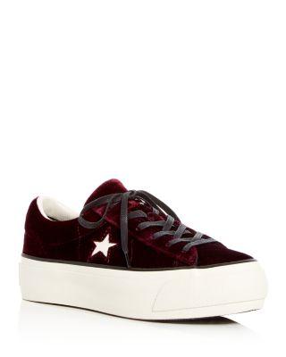 Star Velvet Lace Up Platform Sneakers