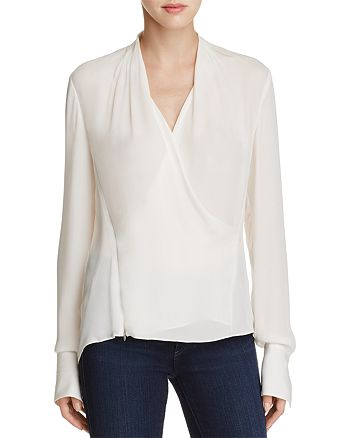 Elie Tahari - Shelly Faux Wrap Silk Blouse
