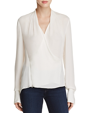 Elie Tahari Shelly Faux Wrap Silk Blouse