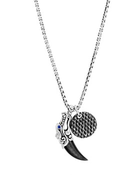 """JOHN HARDY - Sterling Silver Legends Naga Silver Sheen Obsidian Charm Necklace with Blue Sapphire Eyes, 26"""""""