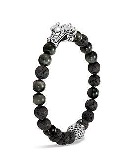 JOHN HARDY - Men's Sterling Silver Legends Naga Black Volcanic Rock Beaded Bracelet with Sapphire Eyes