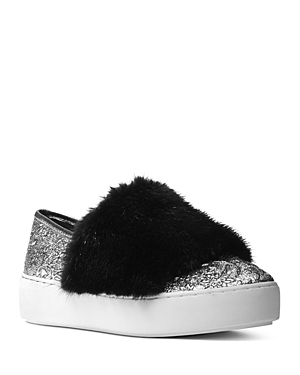 Michael Kors Collection Women's Lorelai Brocade and Mink Fur Slip-On Sneakers