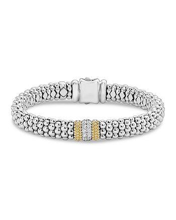 LAGOS - 18K Gold & Sterling Silver Diamond Lux Single Station Bracelet, 9mm
