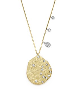 "Meira T - 14K Yellow Gold Textured Diamond Disc Pendant Necklace, 18"""