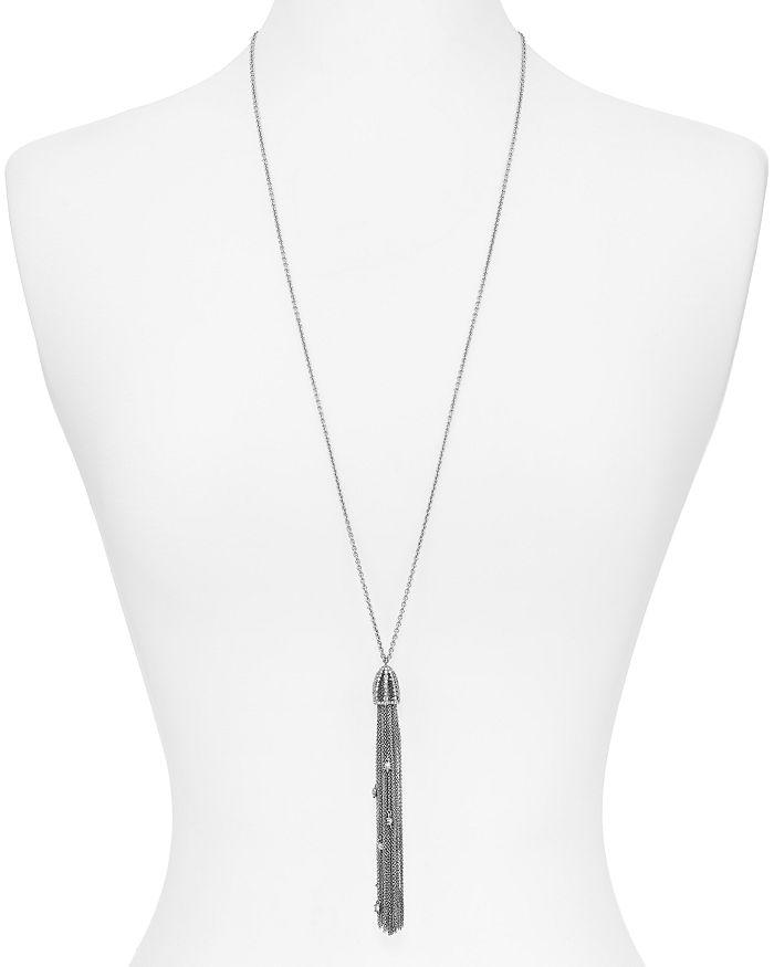 Alexis Bittar Essentials Cascading Crystal Tassel Necklace In Crystal/ Rhodium