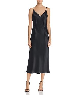 T by Alexander Wang Studded Silk Charmeuse Slip Dress