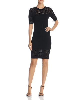 Float-Stitch Lace Short-Sleeve Body-Con Dress in Black