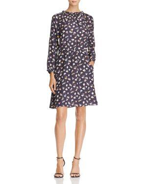 Rebecca Taylor Floral Ruffle-Neck Silk Dress
