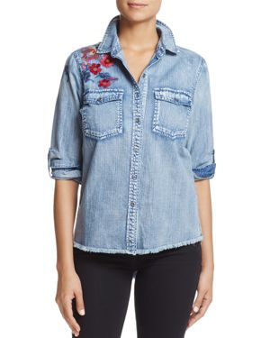 Billy T Embroidered Cotton Chambray Top