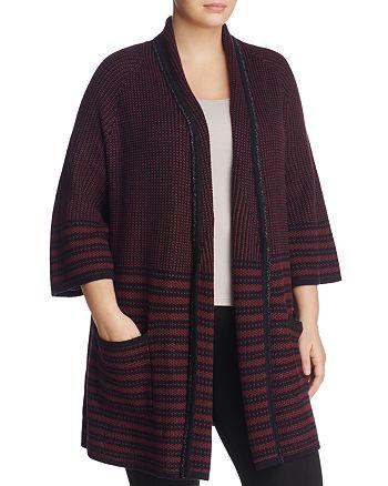 Foxcroft Plus - Penelope Striped Kimono Cardigan