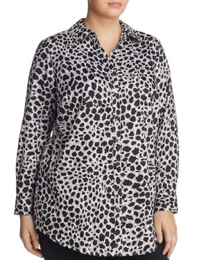 Foxcroft Plus Fay Cheetah Print Button Down Tunic