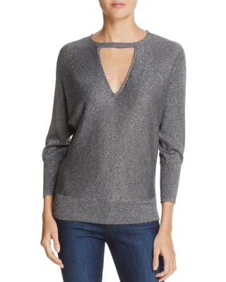 $MILLY Metallic V-Cutout Sweater - Bloomingdale's