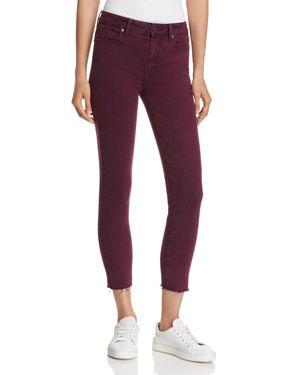Paige Hoxton Ankle Skinny Raw-Hem Jeans in Vintage Deep Magenta - 100% Exclusive