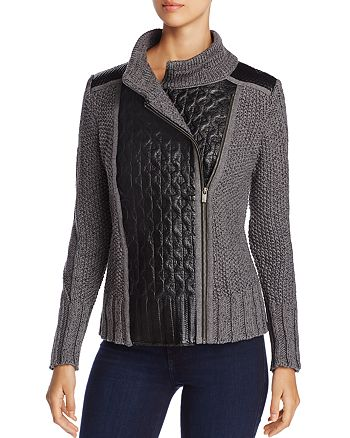 NIC and ZOE - Leather Trim Sweater Moto Jacket