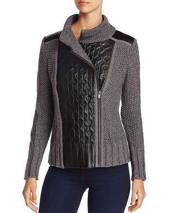 683823863f NIC and ZOE NIC+ZOE Leather Trim Sweater Moto Jacket | Bloomingdale's