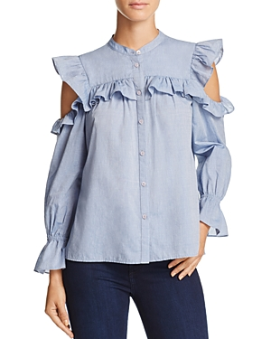 Joie Akari Ruffled Cold-Shoulder Top