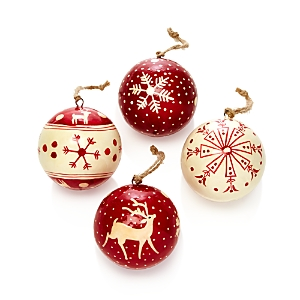 Aman Imports Paper Mache Ball Ornaments, Box of 4