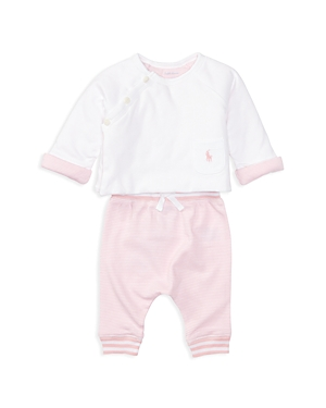 Ralph Lauren Childrenswear Girls' Crossover Button-Closure Top & Striped Joggers Set - Baby