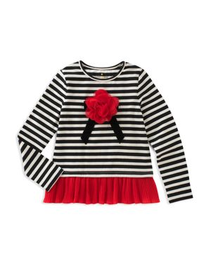 kate spade new york Girls' Striped Tee with Ruffled Hem - Little Kid