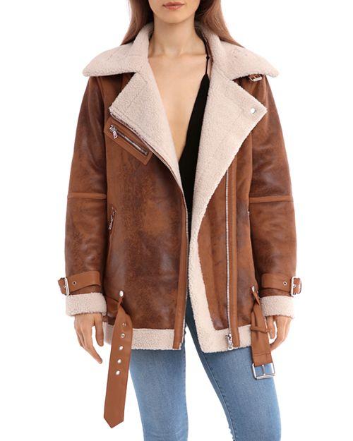 Avec Les Filles - Oversized Faux Shearling Moto Jacket