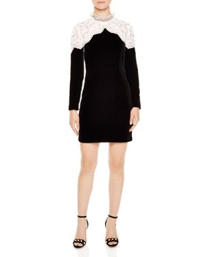 Sandro Junie Lace-Yoke Velvet Mini Dress