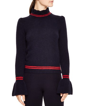 $Sandro Imene Flared-Cuff Mock-Neck Sweater - Bloomingdale's