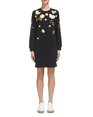 Whistles Floral-Embroidery Sweater Dress