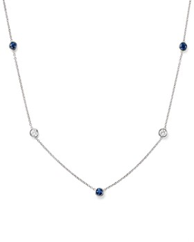 Bloomingdale's - Diamond & Blue Sapphire Station Necklace in 14K White Gold - 100% Exclusive