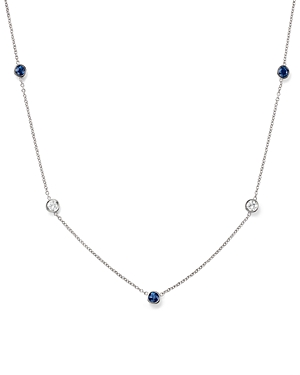 Bloomingdale's Diamond & Sapphire Station Necklace in 14K White Gold - 100% Exclusive