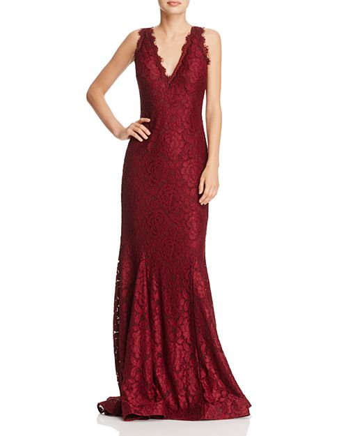 AQUA - V-Neck Lace Mermaid Gown - 100% Exclusive
