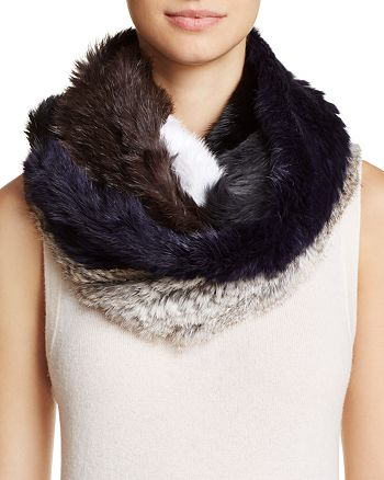 Jocelyn - Patchwork Long Hair Rabbit Knitted Infinity Scarf